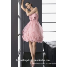 HC2199 Very beautiful strapless sleeveless gathered top bow front knee length ball gown short pink bubble hem party dress