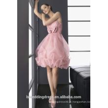 HC2199 Muito bonito sem alças sem mangas recolhidas top arco frente joelho comprimento bola vestido curto rosa bolha hem vestido de festa