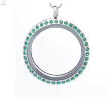 30 mm ronda de cristal verde oscuro cristal magnético de acero inoxidable flotante memoria de la foto encantos medallón locket al por mayor para los hombres