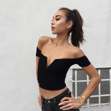 Hot-selling Female Sexy Off Shoulder Body Beauty Deep-V T-shit Cozy Clothes