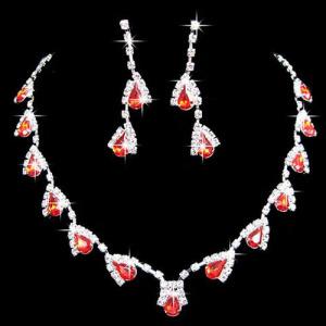 Conjunto de colar de strass de cristal da moda com diamantes vermelhos
