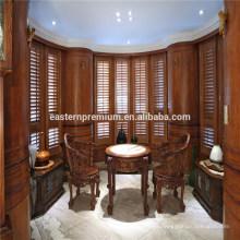 Elegante interior occidental cedro rojo doble plegables persianas de la plantación