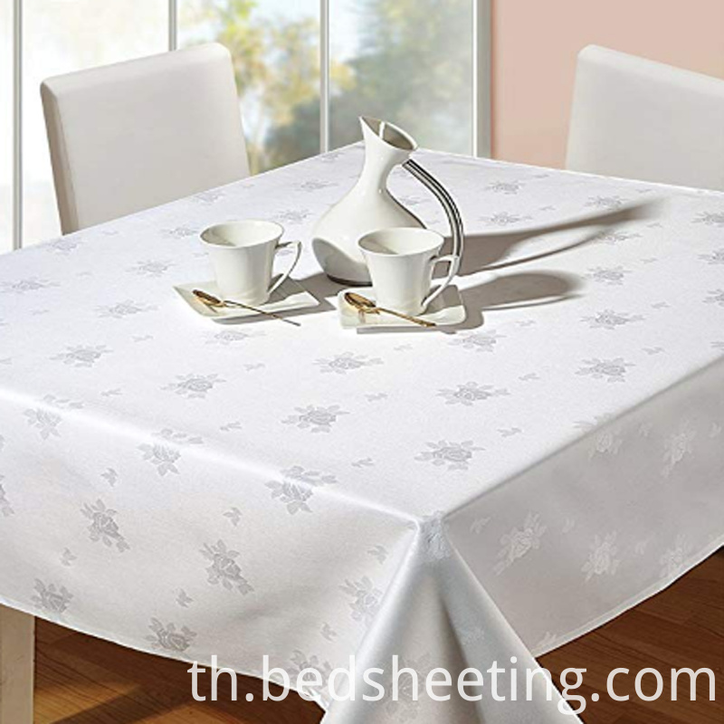Cotton Rose Patterned Damask Tablecloth