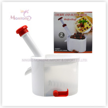 20.5*12.22.5cm Kitchen Tools PP+TPR+PS+Stainless Steel Manual Cherry Pitter