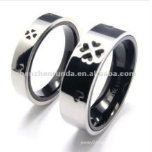 316 stainless steel cheap couple rings with four leave clover