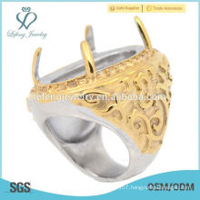 In stock stainless steel gold ring Indonesia cincin four claw casting ring 2015