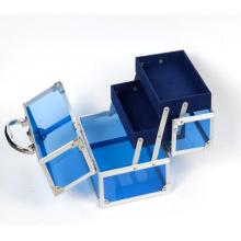 Les trousses de maquillage en acrylique bleu (hx-q046)