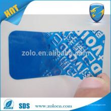 Etiqueta azul brillante de la aduana del texto manipulado un uso del tiempo etiqueta engomada de la etiqueta de la seguridad anti-falsificación