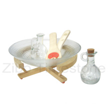 Tigela de salada de vidro com bandeja de madeira e colher (TM030S)