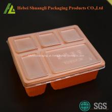 Bandejas de alimentos descartáveis com tampa para microondas