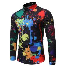 Men Casual Colour Shirt Ink Splash Paint Color Slim Shirts