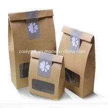 Sachet en papier Kraft en sac sec et en sac sec en PVC transparent