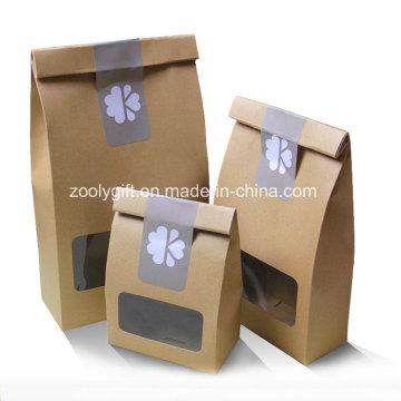 Frutas secas Bolsa de embalaje de papel Kraft con bolsa de PVC transparente
