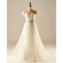 De descuento en el hombro más el tamaño de vestido de boda de destino