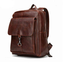 Genuine leather bags school backpack for men