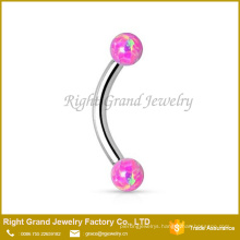 316L Surgical Steel double opal ball internally threaded 6mm Curved Barbell Jewelry