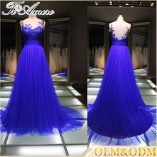 China supplier night ball gown evening dress with embroidered breast flower