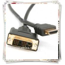Alta calidad 1.8m 6FT DVI 24 + 1 al oro del cable de HDMI plateado para la cuerda del cable de la computadora de la PC de la PC de HD 1080P