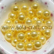Natural Round Freshwater China Pearl Beads With Embroidery Design 6MM Yellow Acrylic Beads