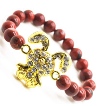 Red Jasper 8MM Round Beads Stretch Gemstone Bracelet with Diamante alloy rabbit Piece