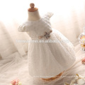 New Cheap Baby Girls Short Christening Dress with Bow Lace Pearls O Neck Baptism Gown Birthday Dress White/Pink