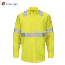 Camisa de trabajo reflexiva del polo del amarillo de la seguridad de la alta visibilidad de encargo de los hombres con manga larga y bolsillos