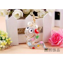 Zodiac snake full rhinestone cartoon cute Korea ladies fashion Keychain crystal snake metal bag accessories whoelsale