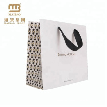 New Design Custom Matte Laminated Euro Tote Style Ribbon Handle Shopping Paper Gift Bags With Logo