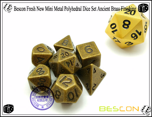 Bescon Fresh New Mini Metal Polyhedral Dice Set Ancient Brass Finishing-4