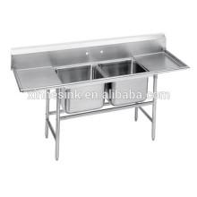 Fregadero de compartimento de acero inoxidable comercial de dos vasos con dos paneles de drenaje