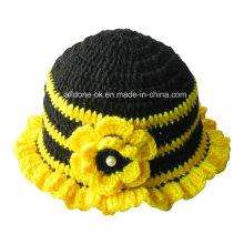 Fashion Hand Knit Crochet Beaded Bee Beanie Hat with Flower