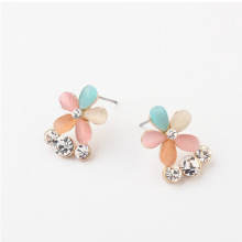 Boutique earrings wholesale summer season small fresh cat eye gemstone flowers boom girl crystal stud earrings gold plating