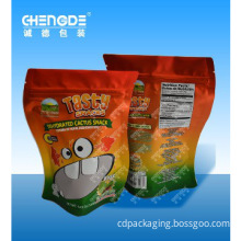 Stand up pouch with zipper for snacks,special shape packaging bag,