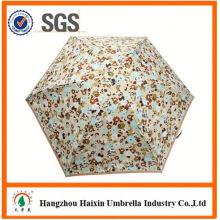 Neueste Design EVA Material gedruckt 5 Falten-Regenschirm in blau