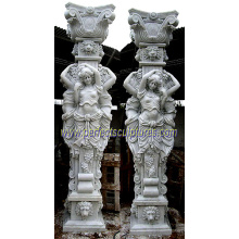 Carved Roman Column with Stone Marble Sandstone Granite (QCM109)