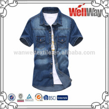 New Men Blue Denim Shirt, Wash Jean Jacket Stylish Fit Line Comfort Casual Top