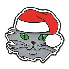 Christmas Cat & Santa Hat Enamel Lapel Pins
