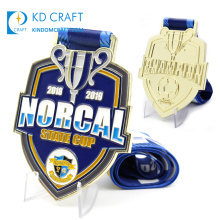 High quality custom metal bronze enamel gold plated award military medallion sports football soccer medal with ribbon