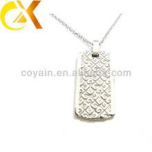 China alibaba Colgante de la joyería del acero inoxidable, colgante de plata del etch de los hombres de encargo