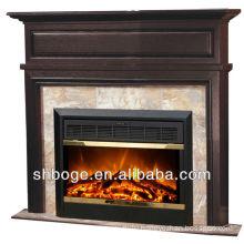 good artistic brown oak wooden fireplace decorative mantel
