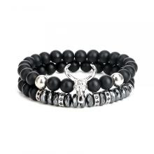 Punk CZ Bull Head Skull Men Pulsera Fashion ox Matte Onyx Stone Beads Charm Bracelets Bangles Macrame Strand Jewelry