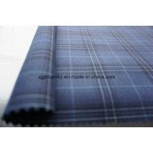 Verifique o tecido de lã azul para o terno