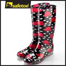 Botas de lluvia plásticos de señoras de moda, mujeres de las botas de lluvia, bota W-6040D de las señoras