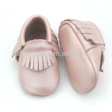 Billige Säuglingsmokassins schuhe niedliche rosa Mädchen echtes Leder Schuhe