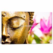 Современная декорация домашнего интерьера Искусство / будда с розовыми цветами Стены Картинки / буддизм Холст-арт готов к зависанию