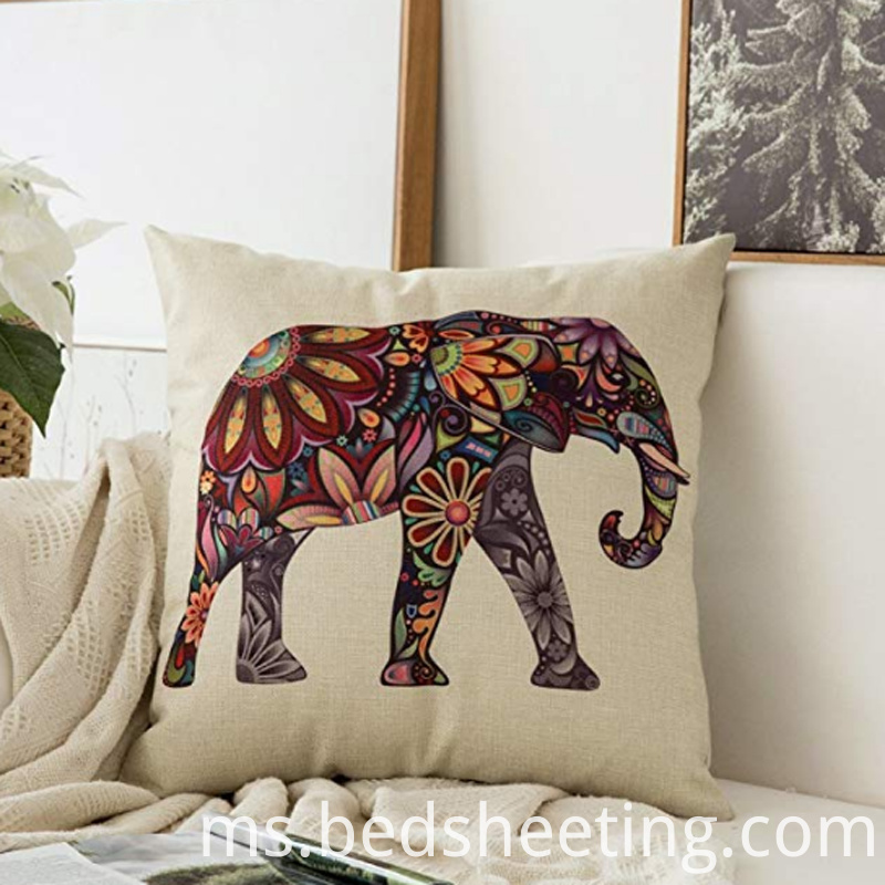 Flower Elephant Cotton Linen Pillowcase