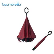 Excellente qualité coupe-vent double couche c poignée inverse pliant parapluie
