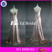 ED Bridal Fashionable Pink Sequined Lace Low Back Heavy Sequined Bridesmaid Dress 2017