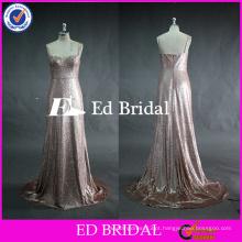 ED Bridal Fashionable Pink Sequined Lace Low Back Heavy Sequined Vestido de dama de honra 2017