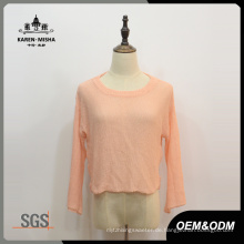 Damen Orange Crop Lässige Strickwaren